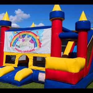 unicorn happy birthday bouncy castle for hire